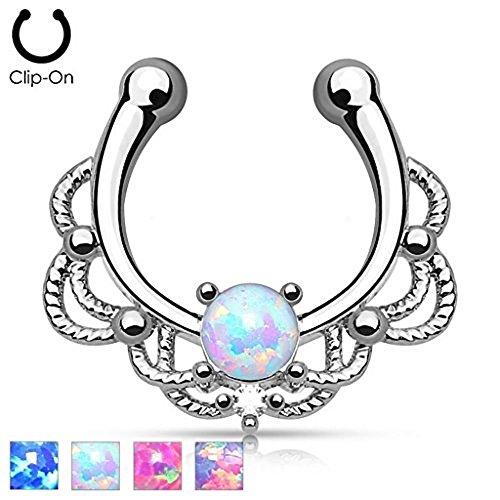 1 x White Opal Synthetic Stone Seil Design Fake (Faux) Septum Ring, keine Notwendigkeit für Piercing Just Clip On.Chirurgischer (Ring Kostüm Opal)