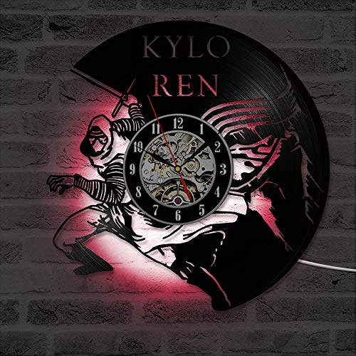 BLACK ELL Creative Hollow CD Record Clásico Kylo Ren Art Vinyl Record Clock Antiguo Interior Hecho a Mano Interior Colgante Sala de Estar LED con 7 Colores