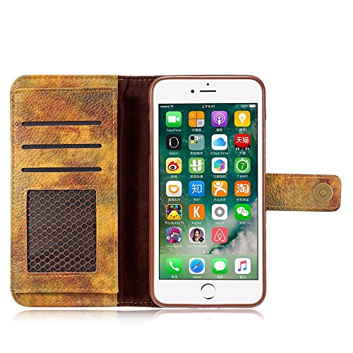 EKINHUI Case Cover Wald Serie Bunte Paiting Litchi Textur Premium PU Leder Horizontale Flip Stand Brieftasche Case Cover mit Card Slots für iPhone 7 Plus / 8 Plus ( Color : Yellow ) Yellow