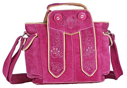 Oktoberfest-Kleidung Trachten-Handtasche aus Echtleder, Dirndltasche, 20x18x7cm, Typ 2, pink -