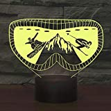 3D Lampe LED Nachtlicht,SUAVER 3D Optical Illusion Lampe Touch Tischlampe 7 Farbwechsel Dekoration Lampe USB Powered Stimmungslicht Skulptur Licht Geburtstags Weihnachts Geschenk (Ski)