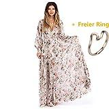 Damen Kleider Frauen Chiffon Sommerkleider Deep V-Ausschnitt Maxikleid Blumendruck Strandkleid Floral Long Minikleid Vintage Abendkleid Langarm T-Shirt Partykleid Cocktailkleid (M, Sexy Beige)
