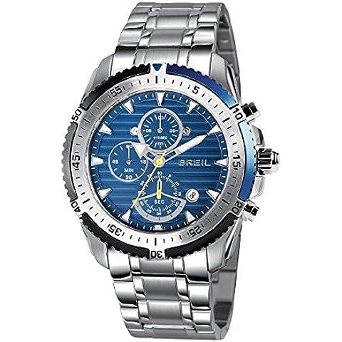 Breil Cronografo tw142947mm in acciaio inox, quadrante blu orologio al quarzo