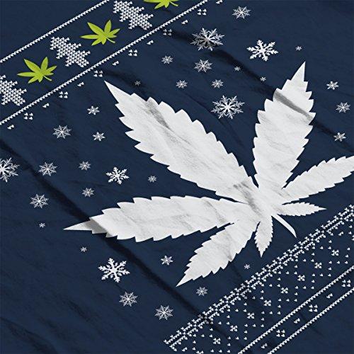 Christmas Weed Leaf Knit Women's Vest Navy blue