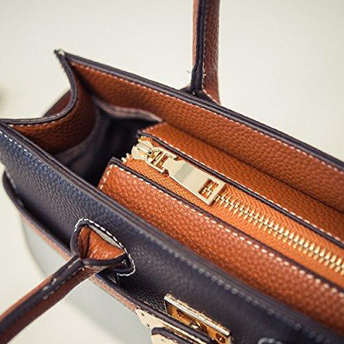 POCFG Frau PU Handtasche Schultertasche Messenger Bag Messenger Bag Collage Bunte Retro Modische Einfache Casual Shopping Durable Black