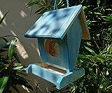 Vogelhaus BEL0--X-VOFU1K-blau001 Schönes PREMIUM Vogelhaus, wetterfestes Vogelfutterhaus MIT FUTTERSCHACHT-Futtersilo Futterstation Farbe blau SKY BLUE himmelblau hellblau mittelblau dunkelblau/natur, Ausführung Naturholz, mit KLARSICHT-Scheibe zur Füllstandkontrolle, 100% Massivholz, QUALITÄTSPRODUKT vom Schreiner