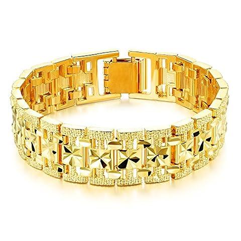 Fate Love Luxus Diamant Schnitt 18K Gelb Vergoldet Kette Armband, Herren Hochzeit Schmuck, 20cm
