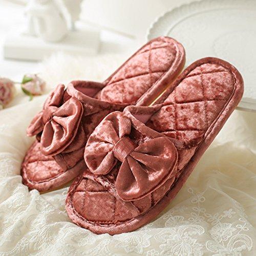 DogHaccd pantofole,Il filtro Bow Tie home soggiorno con un tampone di cotone pantofole durante la primavera e autunno caldo velluto plus antiscivolo peluche paio di pantofole di uomini e donne Il rosso1