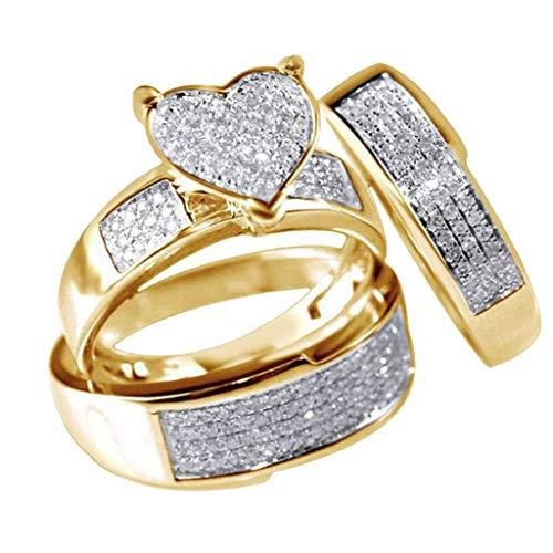 Neues Herz weißer Saphir Ring,eingelegter dünner Ziegelstein-Hochzeits-Liebes-Paar-Ring,3Pcs/Set Legierung Sz6-10 Schmuck,nettes Zubehör verwendbar für tägliche Zusammenstellung (Gold, 7) (Schwarz Und Rosa Saphir-ring)
