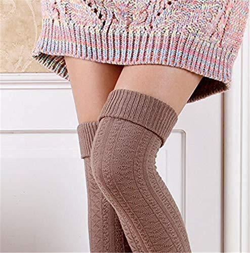 Madlst Damen Zopfstrick-Beinstulpen Strick Häkeln Lange Socken (Turner Kostüm Halloween)