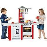 Unbekannt XL Spielküche mit Esstheke, mit Geräuschen, 114x102 cm, rot/ weiß: Kinderküche Spielzeug Küche Spielherd Licht Sound