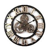 BOROK Horloge Mural Silencieuse Wall Clock Pendule Murale Décoration Maison Pendule Vintage pour Bureau Salon 50*50*5cm