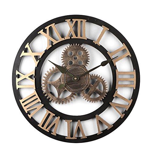 Jo332bertram 50cm orologio da parete grande - 3d ingranaggio orologio da muro silenzioso vintage in legno orologio da parete decorazione