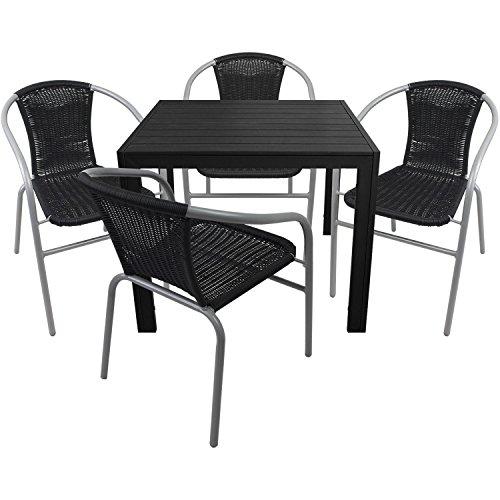 5tlg. Gartengarnitur Aluminium Gartentisch 90x90cm mit Polywood Tischplatte Polyrattan Bistrostuhl stapelbar Schwarz/Silbergrau