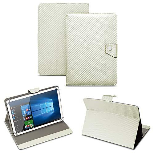 NAUC Universal Tablet Tasche mit Standfunktion Hülle für Blaupunkt Endeavour 101M 101G 101L Tablet Schutztasche in Edler Carbon-Optik Schutzhülle Cover Case, Farben:Weiss