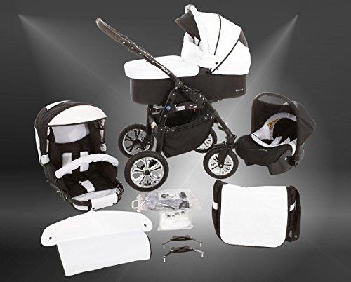Milk Rock Baby Macano S Kinderwagen mit 3 Gestellfarben Safety-Set (Autositz & ISOFIX Basis, Regenschutz, Moskitonetz, Schwenkräder) MO56 Black / Pepper & Salt