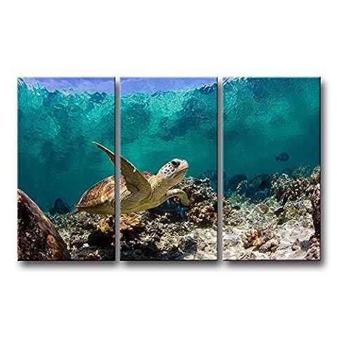 3pièces Bleu Décoration murale Tableau Underwater Tortue Impressions sur toile L'Animal photos Huile pour Home Décor Imprimé moderne Décoration