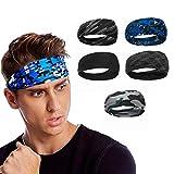 Udodo Sport Headband Fascia Capelli da Uomo Fasce da Allenamento Sweatband per Corsa Calcio Ciclismo Yoga Ginnastica - 5 Pezzi