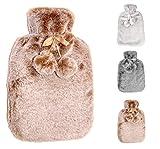 Wärmflasche mit dicken, cashmereweichen, luxuriösen Bezug | 2 Liter Fassungsvermögen | Flauschig, zarte Wärmflasche | Geprüft und frei von Schadstoffen | von Soft & Cosy (Creamy Gold)