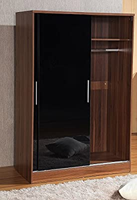 Gladini High Gloss 2 Door Sliding Wardrobe - Hanging Rail - Shelf - Metal Handles - inexpensive UK light shop.