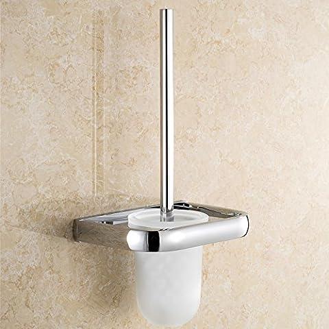 Latón sólido de estilo europeo antiguo baño aseo Brush set wc cepillo de cerámica wc estante pared cepillo sanitario Plata taza wc