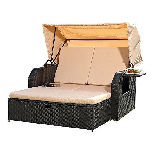 Melko® Sonnenbett/Strandkorb/Lounge aus Polyrattan, Schwarz, inkl. klappbaren Seitentisch +verstellerbarer Rückenlehne + Faltbare Sonnenschutzdach