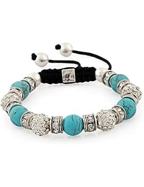 Morella® Damen Armband Schmucksteine und Zirkonia Strass verstellbar silber - verschiedene Farben