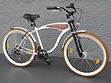 "26"" Beachcruiser Cruiser Fahrrad Shimano 7 Gang Nabendynamo SCHWALBE Holz Dekor"