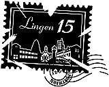Wandtattoo Skyline Lingen Stadt Stamps Briefmarke Marke Wand Aufkleber Türaufkleber Möbelaufkleber Autoaufkleber Wohnzimmer 5M213, Farbe:Königsblau Matt, Breite vom Motiv:70 cm