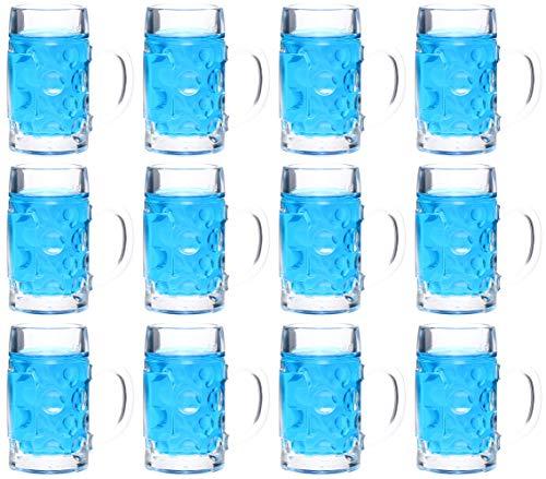 idea-station Bierkrug Schnapsgläser 12 Stück 4 cl (40 ml), mehrweg transparent, Mini-Bierkrug, Mini-Maßkrug, Stamper, Shooter-Gläser, Shot-Gläser für Schnaps, Tequila, Gin, Obstbrand, Vodka