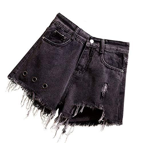 NPRADLA Damen Große Kurze Jeans Sommer Tasche Loch Hose Quaste Hose Cowboy Schwarz Weites Bein Frau Casual Shorts(4XL,Schwarz) Aeropostale Bootcut Jeans
