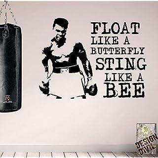 Float like a butterfly. Muhammad Ali Premium Motivational Wall Art Decal. (Black)