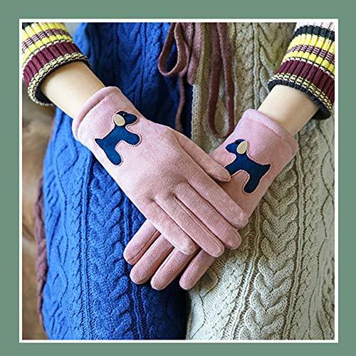YiWu Herbst-und Winter-warme Handschuhe Weiblicher Süßer Netter Karikatur-Student-Touch Screen Plus Samt-Verdickung Fünf Finger Zeigt Ski-Winter (Farbe : Girl Powder) - Kid Leder Fahren Handschuhe