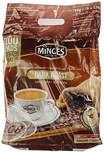 Minges Café Crème Dark Roast Megabeutel, 6 x 18 Kaffeepads (100 + 8 gratis), Aroma-Softpack, 756...