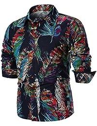289040b27584 YunYoud Herren Basic Bluse Männer Mode Drucken Lange Ärmel Oberteile Hemd  Beiläufig Slim Fit Langarmshirt Langarmhemd Coole…