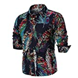 YunYoud Herren Basic Bluse Männer Mode Drucken Lange Ärmel Oberteile Hemd Beiläufig Slim Fit Langarmshirt Langarmhemd Coole Business Shirt Freizeithemd mit Tasten (Schwarz,M)