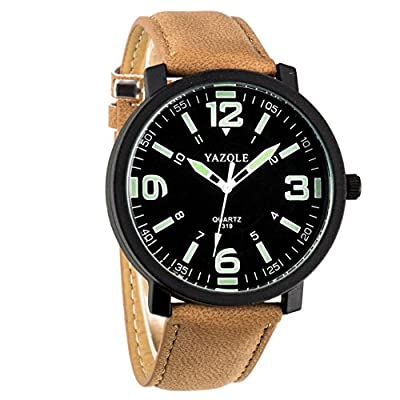 WANGSAURA Men 30M Waterproof Night Light hands Simple Style Leather Strap Quartz Wrist Watch-Brown - low-cost UK light store.