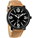 WANGSAURA Men 30M Waterproof Night Light hands Simple Style Leather Strap Quartz Wrist Watch-Brown