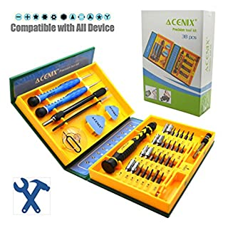 ACENIX® New Professional Tools Set for iPhone 5S 5C 5 4S 4 iPad Air iPad 4 3 2 Mini iPods Samsung Galaxy S4 S3 S2 Note 1 Note 2 Note 3 Mega HTC One X Sensation XL EVO Radar Nokia Lumia 920 800 N8 N9 LG Nexus 4 Optimus 4X 2X 3D Sony Xperia Z ZL SL U P Motorola Droid Razr Blackberry Z10 Torch 9860 GPS Kindle Fire Multipurpose 38-Piece Precision Screwdrivers Repair Tools Kit