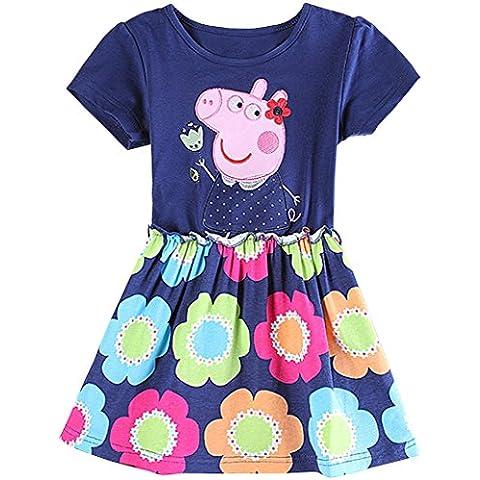 Peppa Pig niña vestido de verano, PEPPA con flor