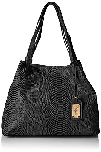 Buffalo BAG 601918 SNAKE PU 172787 Damen Shopper 40x30x20 cm (B x H x T), Schwarz (BLACK 01) (Snake Shopper)