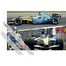 1art1® Póster + Soporte: Formula 1 Póster (91x61 cm) Fernando Alonso,