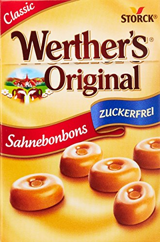 Werther's Original Sahnebonbon Minis zuckerfrei – Mini Bonbons ohne Zucker mit lang anhaltendemgenuss für besondere Momente – (10 x 42g Packung)