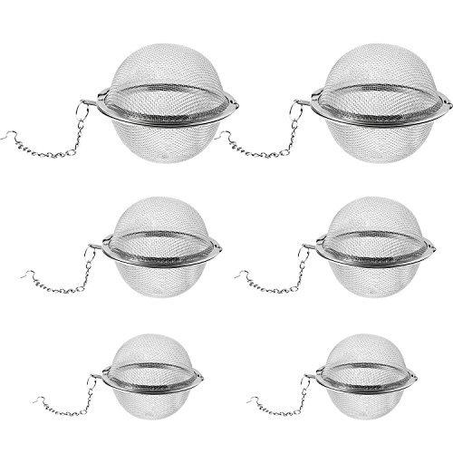 Chuangchou 6 Piezas de Bola Infusora de Té de Acero Inoxidable Bola de Filtro Colador de Té con Gancho para Té de Hierbas Sueltas, 3 Tamaños
