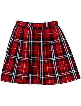 Mujer Falda Corta Con Pliegues,Logobeing Mini Falda Mujer Plisada Escocesa Elegante Alta Cinturilla Colegiala...