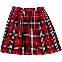 Mujer Falda Corta Con Pliegues,Logobeing Mini Falda Mujer Plisada Escocesa Elegante Alta Cinturilla Colegiala Uniforme Escolar Plisado Falda Algodón Tartán