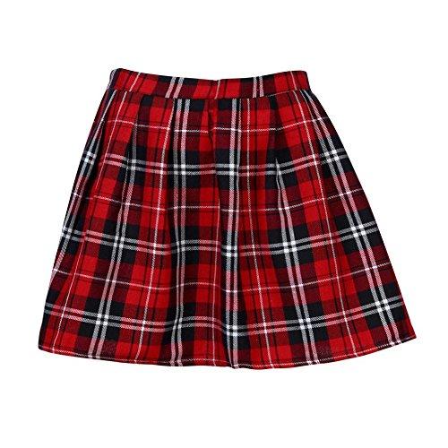 Logobeing Mujer Falda Corta con Pliegues, Mini Falda Mujer Plisada Escocesa Elegante Alta Cinturilla Colegiala Uniforme Escolar Plisado Falda Algodón Tartán (S, Rojo)