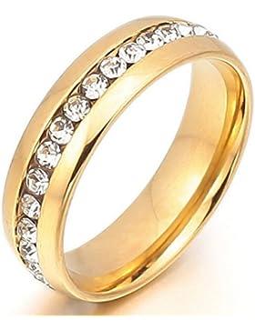 MunkiMix Edelstahl Ewigkeit Ewig Ring Band CZ Zirkon Zirkonia Golden Ton Valentine Herren