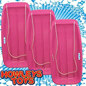 Pack of 3 'Snow Speeder' Plastic Sled - Pink
