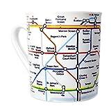 Taza con diseño de mapa de metro de Londres del mapa del metro de, blanco